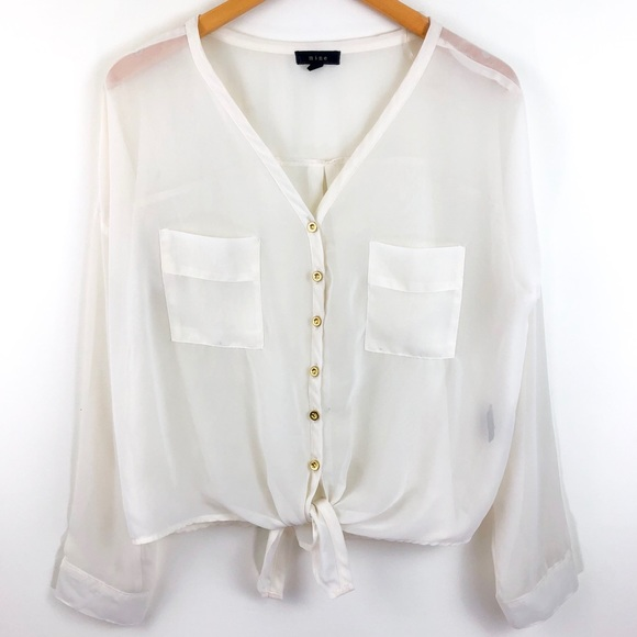 9a053fe968aa8e White Sheer Gold Button Front Blouse Tie Hem